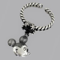 disney mickey mouse open ring personality silver plated retro cold wind bungee net red mickey ring
