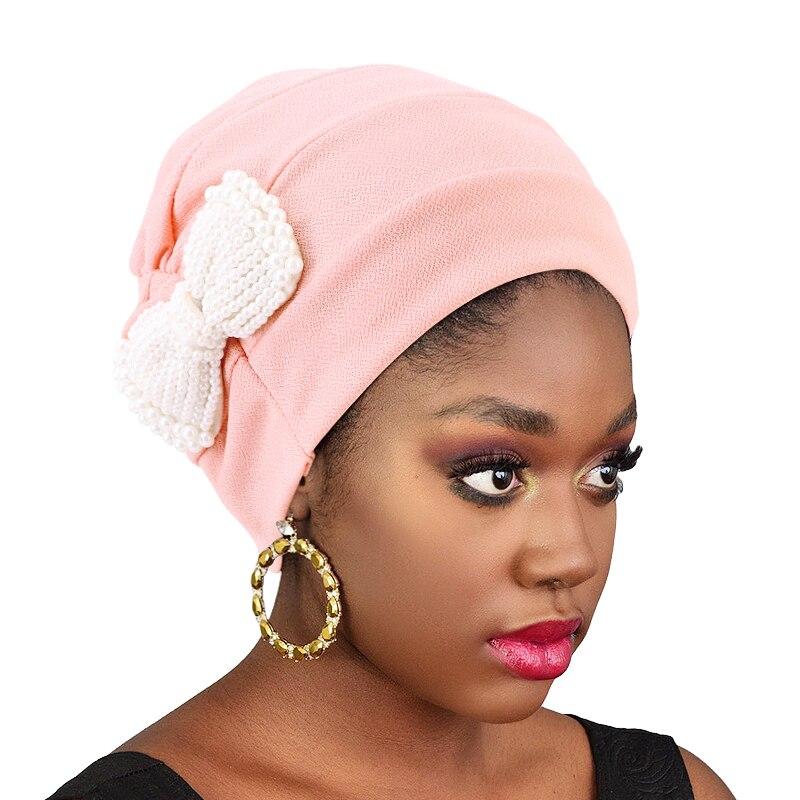 Turban à nœud papillon en perles pour femmes, Bandana musulman, Hijab pour l'extérieur, accessoires de cheveux décontractés, perte de cheveux, bonnet chimio, nouvelle collection