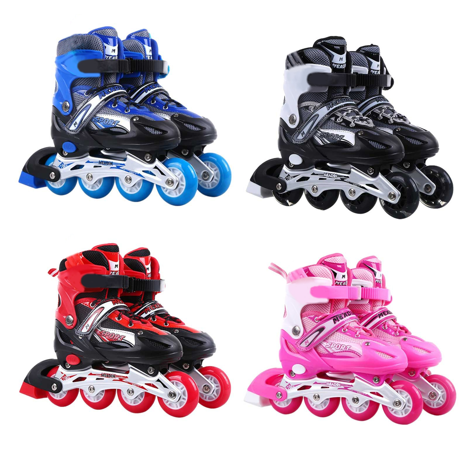 Детские роликовые коньки, регулируемые роликовые коньки светильник светящимися колесами, роликовые коньки для улицы, Детские регулируемые...