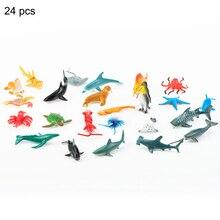24 Pcs Kids Baby Sea Life Animals Toys Sea Creatures Model Toys Ocean Animals Figurines Marine Aquarium Miniature Education J71