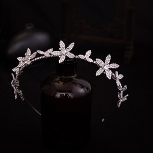 Girls Crystal Rhinestone Flower Wedding Headband Tiara Bridal Headpiece Hair ornaments Bride Hairband Women Hair Jewelry