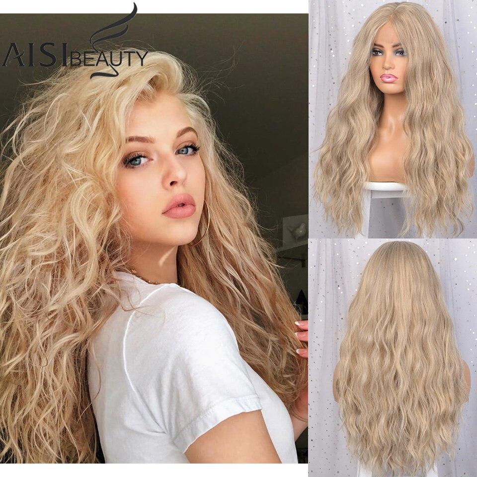 AISI belleza pelucas delanteras de encaje de oro largo ondulado pelucas resistente al calor de fibra Rubia de la parte media del pelo sintético