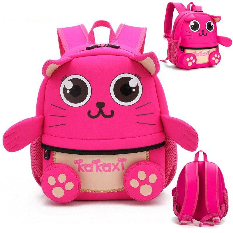 Модные детские школьные ранцы, рюкзак с мультипликационным котом, водонепроницаемая Неопреновая ткань для малышей, мальчиков, детских садо...