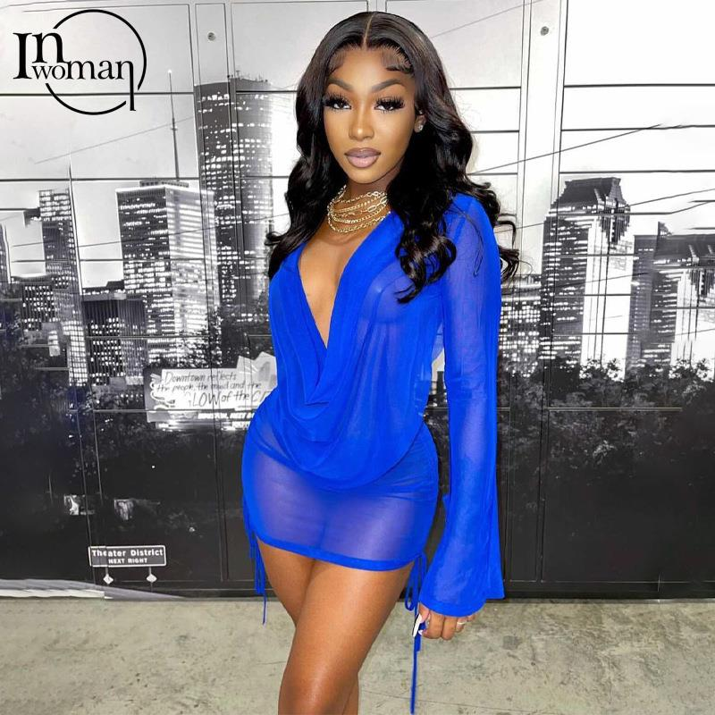 INWOMAN Autumn Sexy Blue 2 Two Piece Sets Women Skirts 2021 Long Sleeve Tops See Through Club Skirts Suits Female Matching Sets