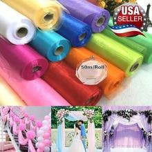 50cm x50m Organza Wedding Decoration Table Wedding Organza Roll Yarn Tulle Table Decoration Roll Tule Crystal Table Gauze Yarn