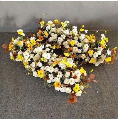 New wedding props, wedding simulation, silk flower arrangement, T stage, road leading, yellow iron frame decoration, flower art