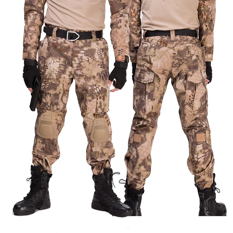 Купить с кэшбэком Multicam Camouflage Military Tactical Pants Army Uniform Trouser Hiking Pants Paintball Combat Cargo Pants With Knee Pads