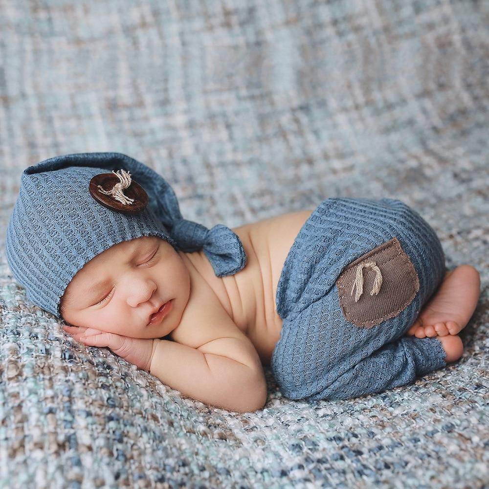 Newborn Photography Clothing Top Knot Hat+Pants 2Pcs/set Baby Boy Girl Photo Props Accessories Studio Newborn Shooting Clothes