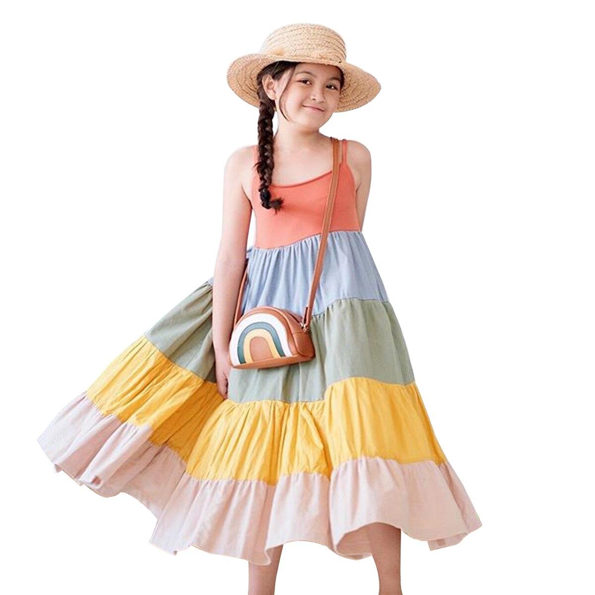 Kids Baby Girl Suspender Dress Rainbow Color Patchwork Loose  Princess Dress Sleeveless  Girls Casual Dresses