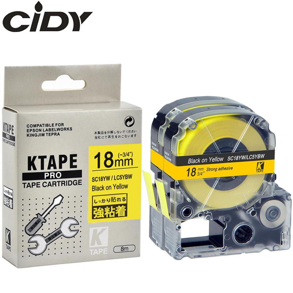 Cidy fita de etiqueta compatível com epson, 2 peças de fita para etiquetadora kingjim LC-5YBW sc18yw pro 18mm LW-300 LW-400