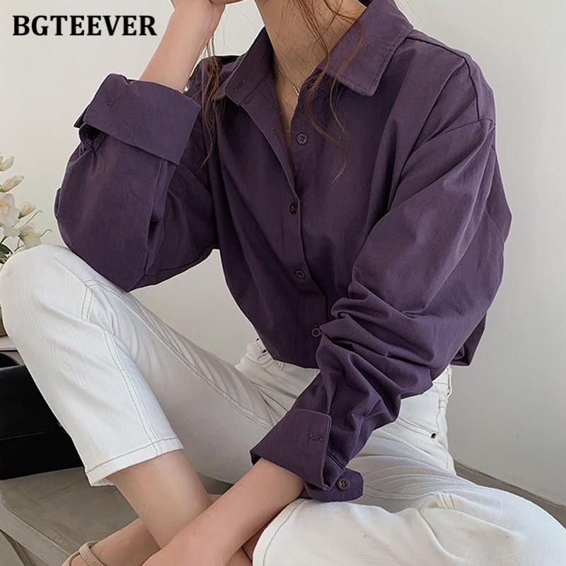 BGTEEVER Vintage Turn-down Collar Women Blouse Shirts Autumn Winter Thicken Female Blouse Tops Workwear Purple Shirts 2020
