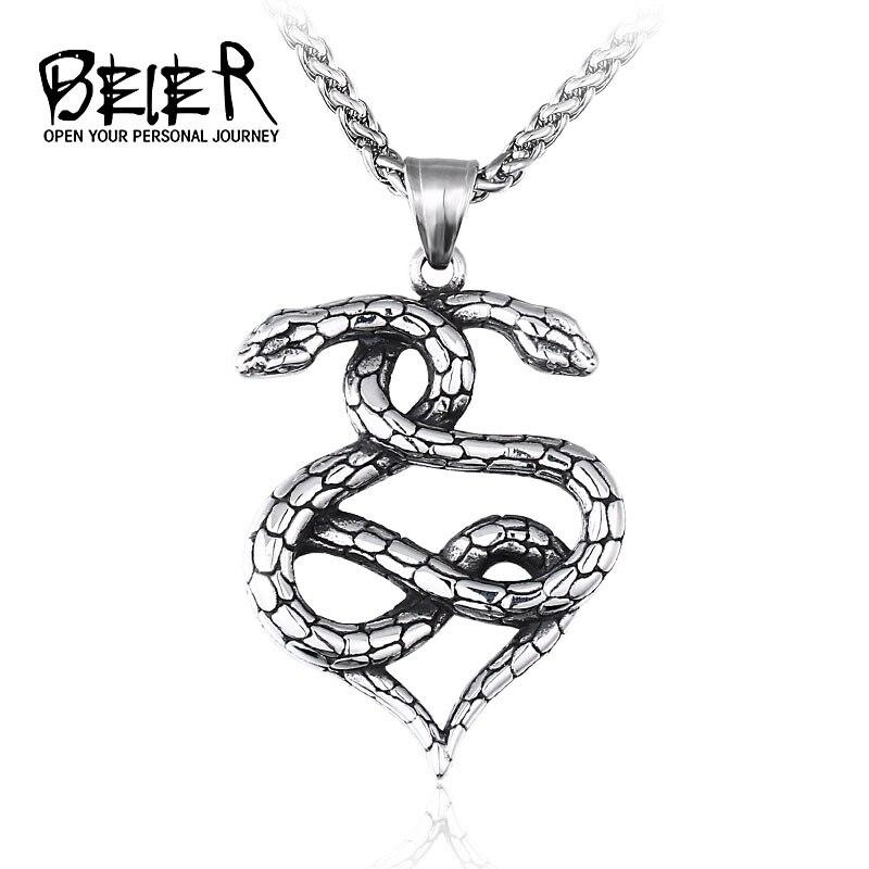 Beier cobra pingente colar para homens aço inoxidável amuleto colar punk cobras suspensão pingente maxi masculino jóias lhp121