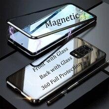 Para xiaomi redmi nota 9s 9pro max caso 360 frente + traseira dupla face caso de vidro temperado redmi nota 9s magnética capa de metal note9s