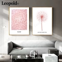 nordic minimalist pink canvas painting flower feather letter poster printing wall art modern home room decoration accessories