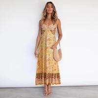 bohemia women long dress floral print sling sleeveless v neck sexy backless casual loose streetwear plus size female dresses