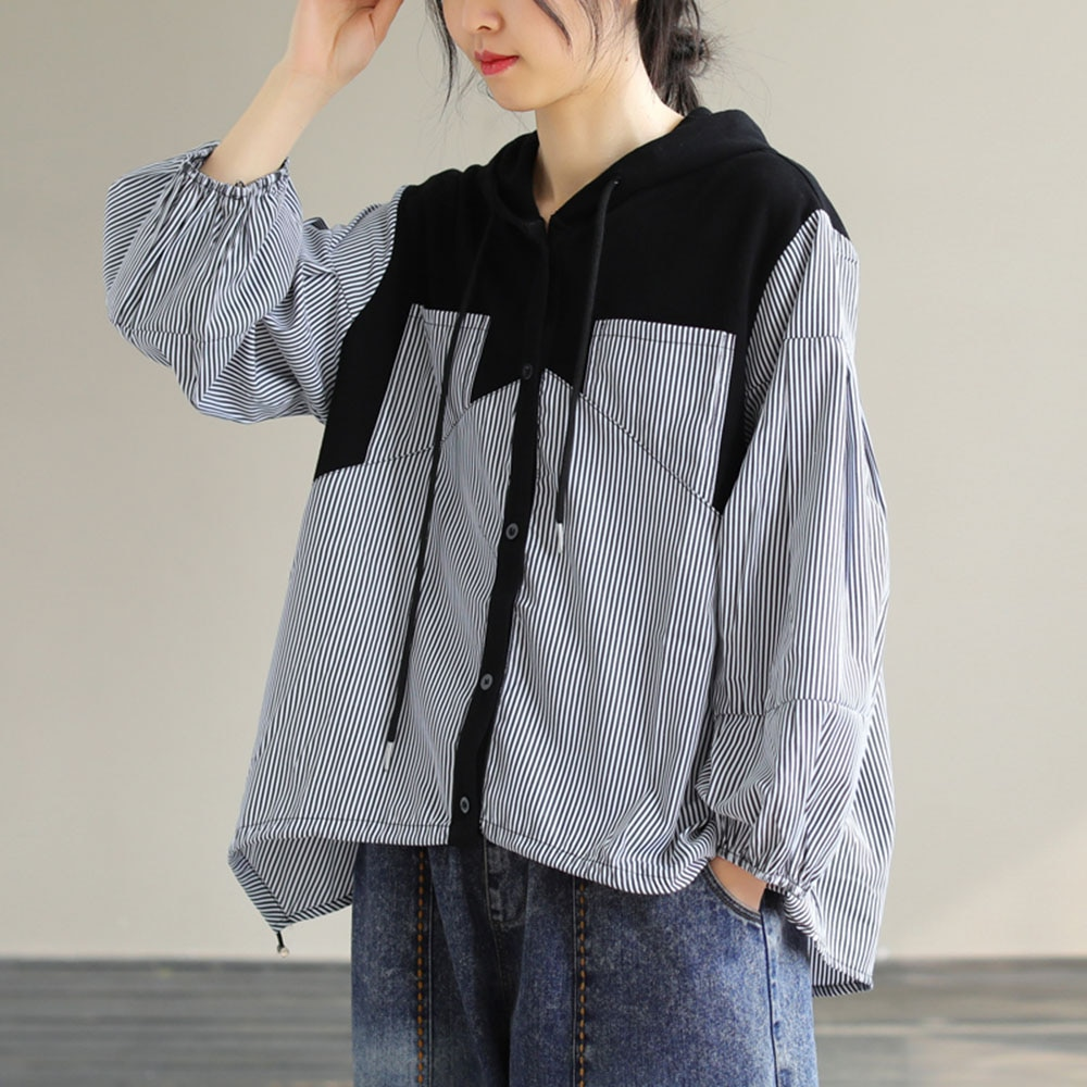 2021 Loose Long Sleeve With Hood Blouse Autumn New Stripe Splicing Single-breasted Casual Japanese S