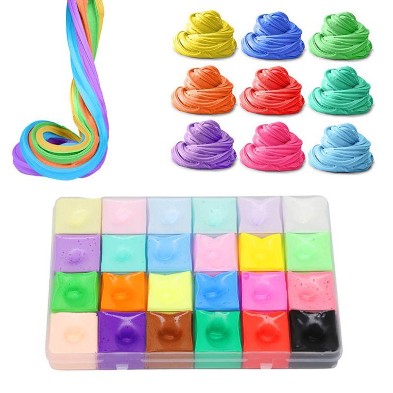 24 colores de algodón lodo Puff barro espuma arcilla niños juguete materiales de descompresión