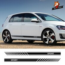 Pegatina de puerta de coche, pegatina lateral de falda a rayas, pegatinas de coche Wasit para Volkswagen VW Golf 7 5 4 3 6 2 1 MK7 MK5 MK2 MK6 MK4 MK1 MK3 GTI