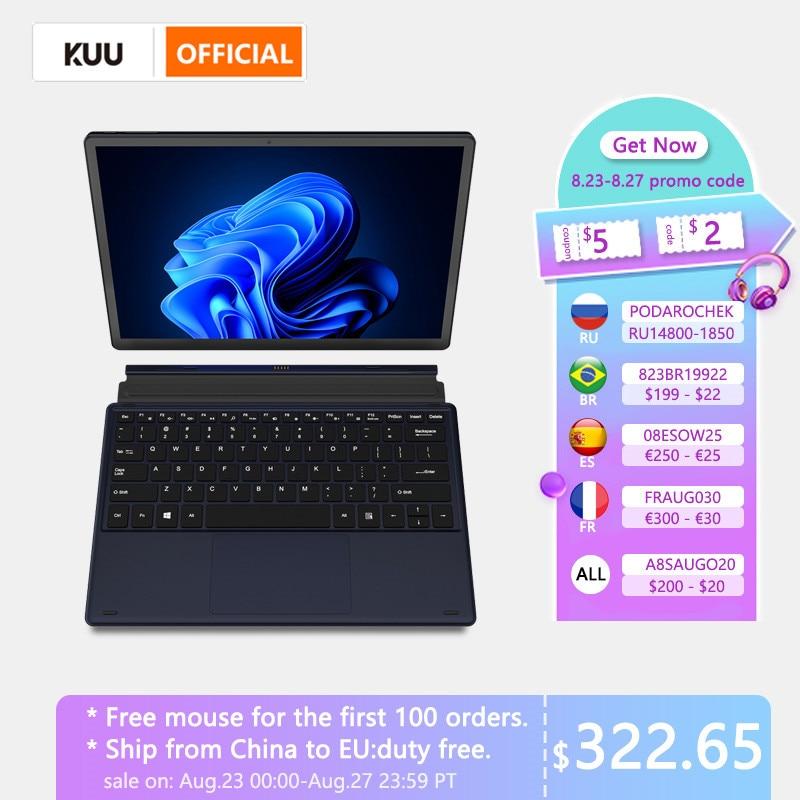 KUU Metal 12 Inch 2K Touch Screen 2 in 1 Laptop Intel Celeron Quad Core LPDDR4 8GB 256GB SSD Storage Windows 10 Dual WiFi Type C