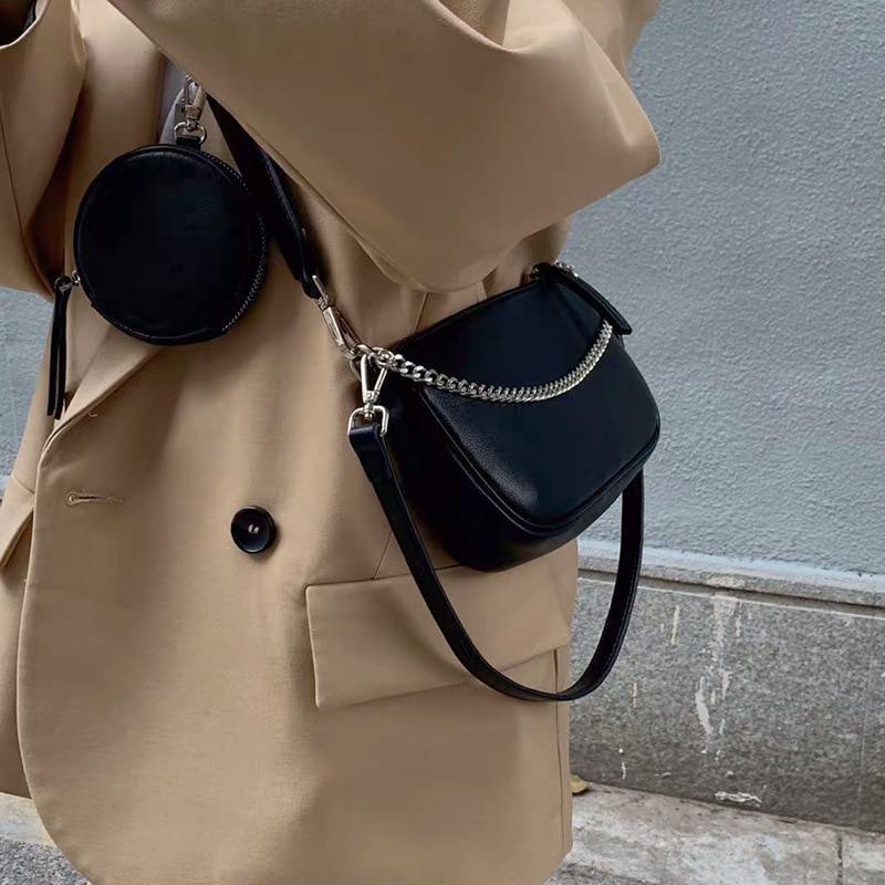 2021 New 2 Pieces Set Messenger Bags Women Retro Crossboy Bags pu Leather Shoulder Bag With Coin Pur