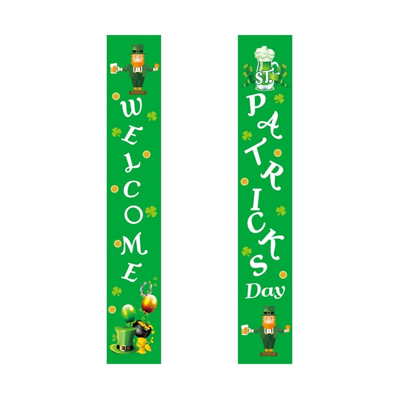 Decoración del Día de San Patricio, cartel para el pórtico de Saint trébol, decoración de Leprechaun, accesorios de interior y exterior para colgar en la puerta delantera