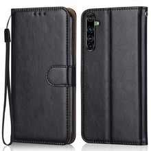 Luxury Leather Case for On Realme X50 Pro Wallet Stand Flip Case Phone Bag with Strap