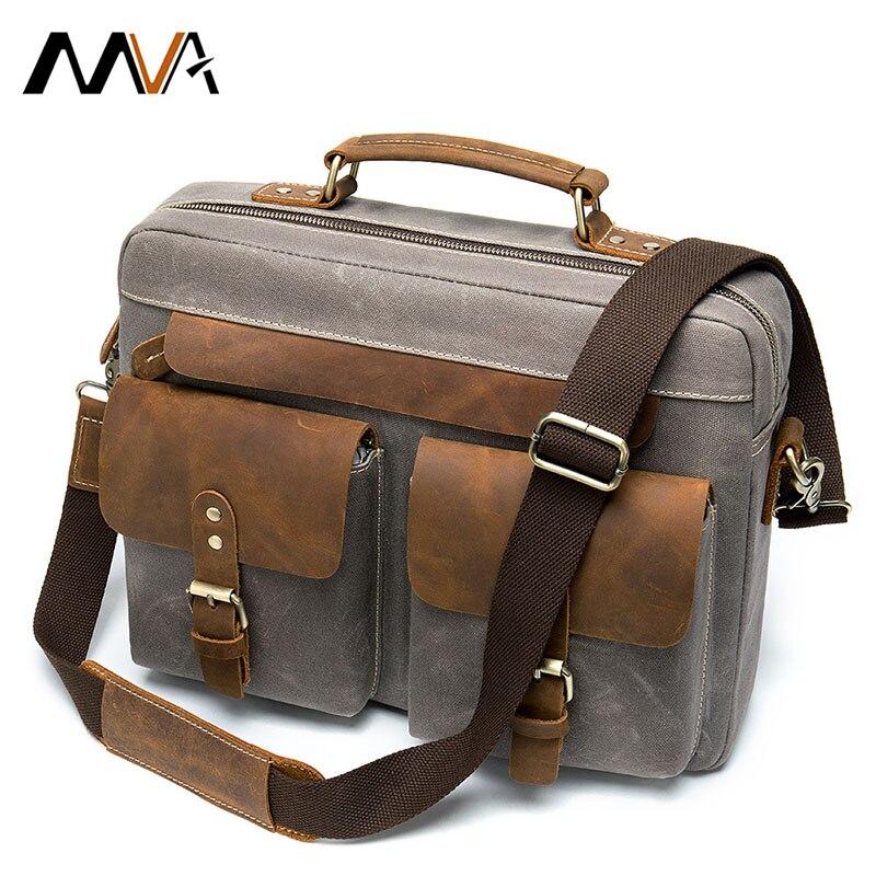 Модный Ретро мужской короткий чехол, деловая кожаная с холщовой сумкой, чехол для документов, ноутбука, портфель, мужская сумка-мессенджер, ...