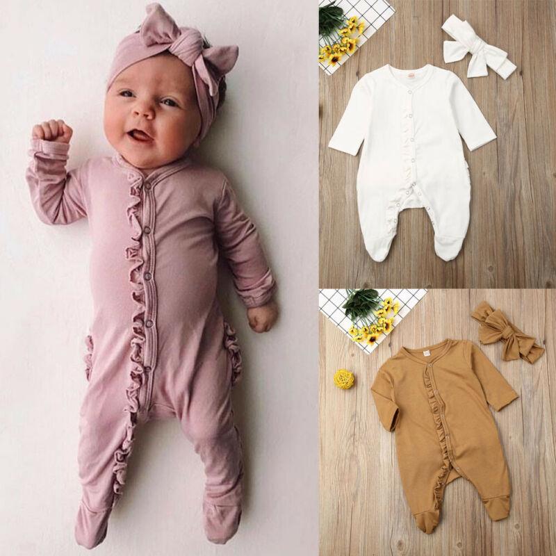 Ropa para bebé recién nacido (niño o niña), mono bonito con volantes lisos, mono de manga larga envuelto en el pie