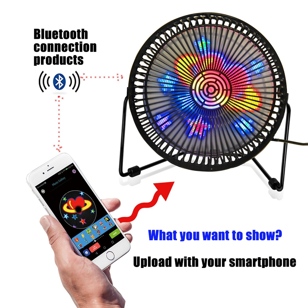Bluetooth Customized LED Display Graphic Advertising Desktop Fan, A Special Gift For Boyfriend And Girlfriend