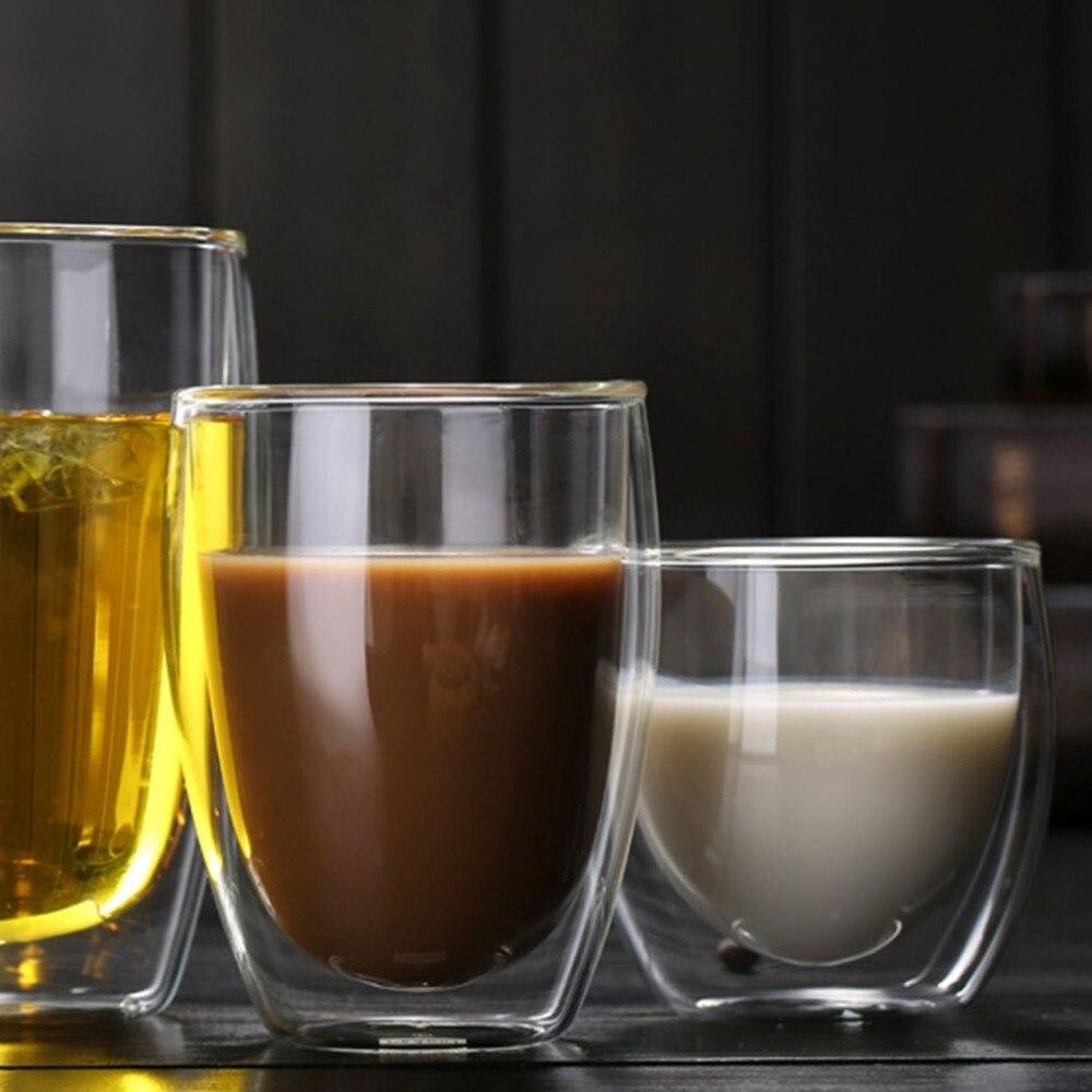 Taza de té de cristal de doble pared resistente al calor de 350ML, taza de café, jarra de aislamiento transparente, vasos de cerveza, tazón taza de cerveza, Vasos
