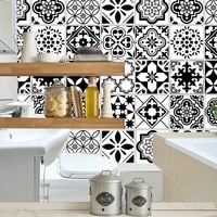 Autocollants de carreaux noirs et blancs pour salle de bain  autocollants de carreaux de cuisine  decor adhesif impermeable en PVC  ligne de taille de cuisine