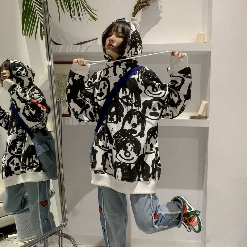 Худи HOUZHOU в стиле Харадзюку женское, черное худи в стиле хип-хоп, пуловер в готическом стиле с принтом граффити, в стиле хиппи, Осеннее худи дл...