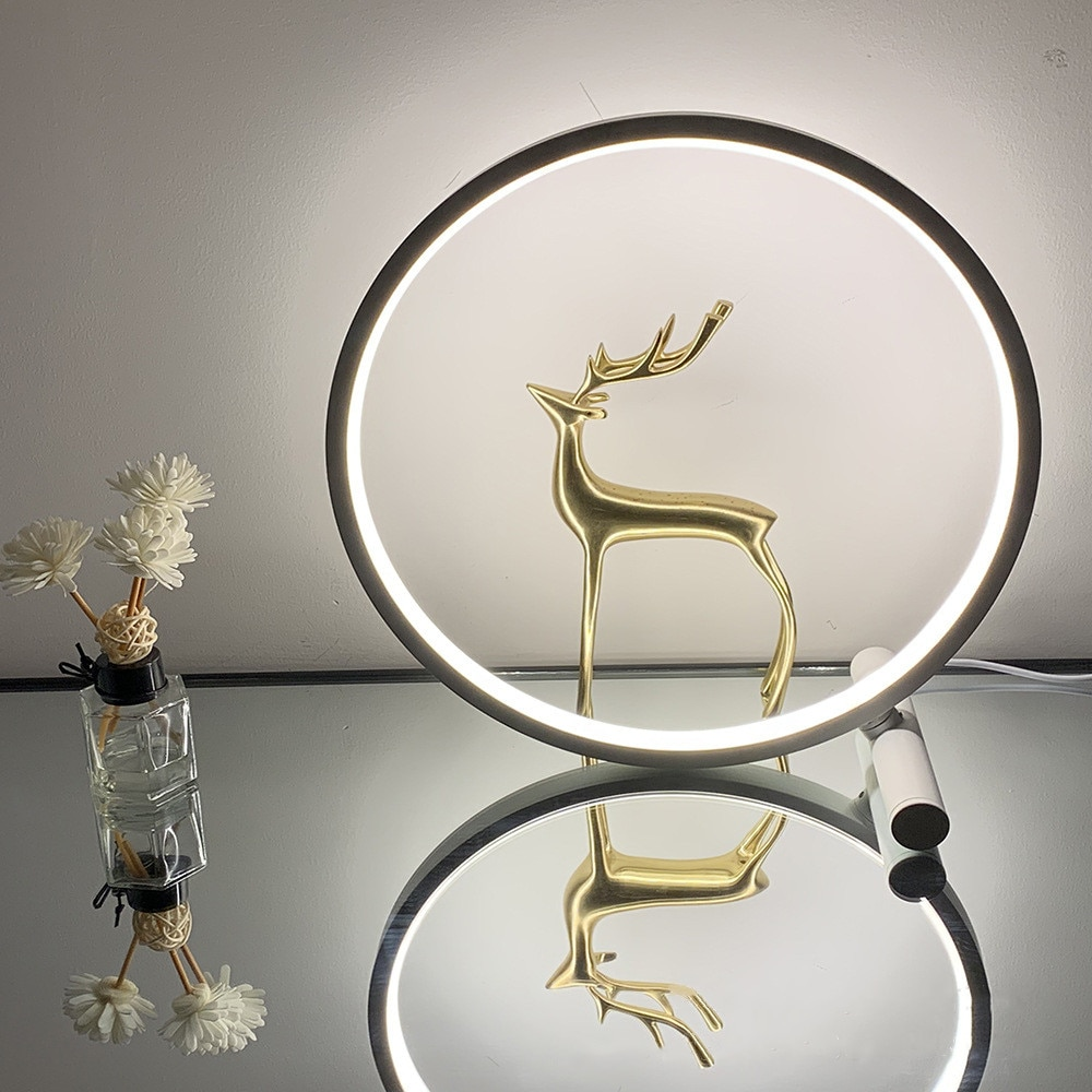 RGB Ring Table Lamp Bedside Nightstand Circle Lamps Color Changing Lighting Effects Mood Dimmable LED Light Remote Control