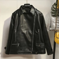autumn large size xl 5xl new style lapel leather jacket casual top loose fashion zipper up turndown collar black pu simple coat