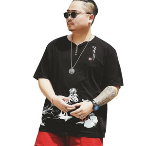 Men's Big T-Shirt Large Size Summer Loose Casual Short Sleeve Round Collar Print Sports T-Shirt