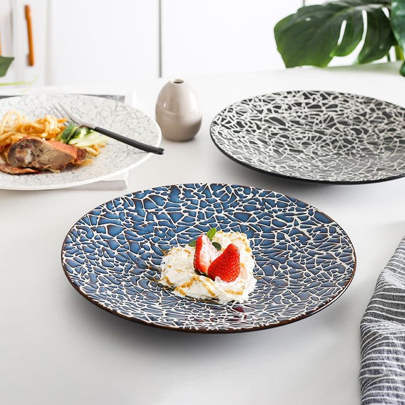 Ceramic Steak Plate Pasta Plate Simple Creative European Style Beautiful Fish Plate Dinner Plate Marble Pattern Dinner Plate