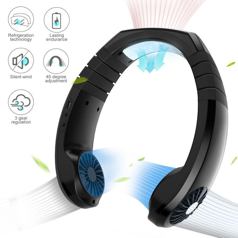 Беслопастной мини-вентилятор для шеи, перезаряжаемый вентилятор с USB, бесшумные спортивные вентиляторы для шейного вентилятора, кондиционе...