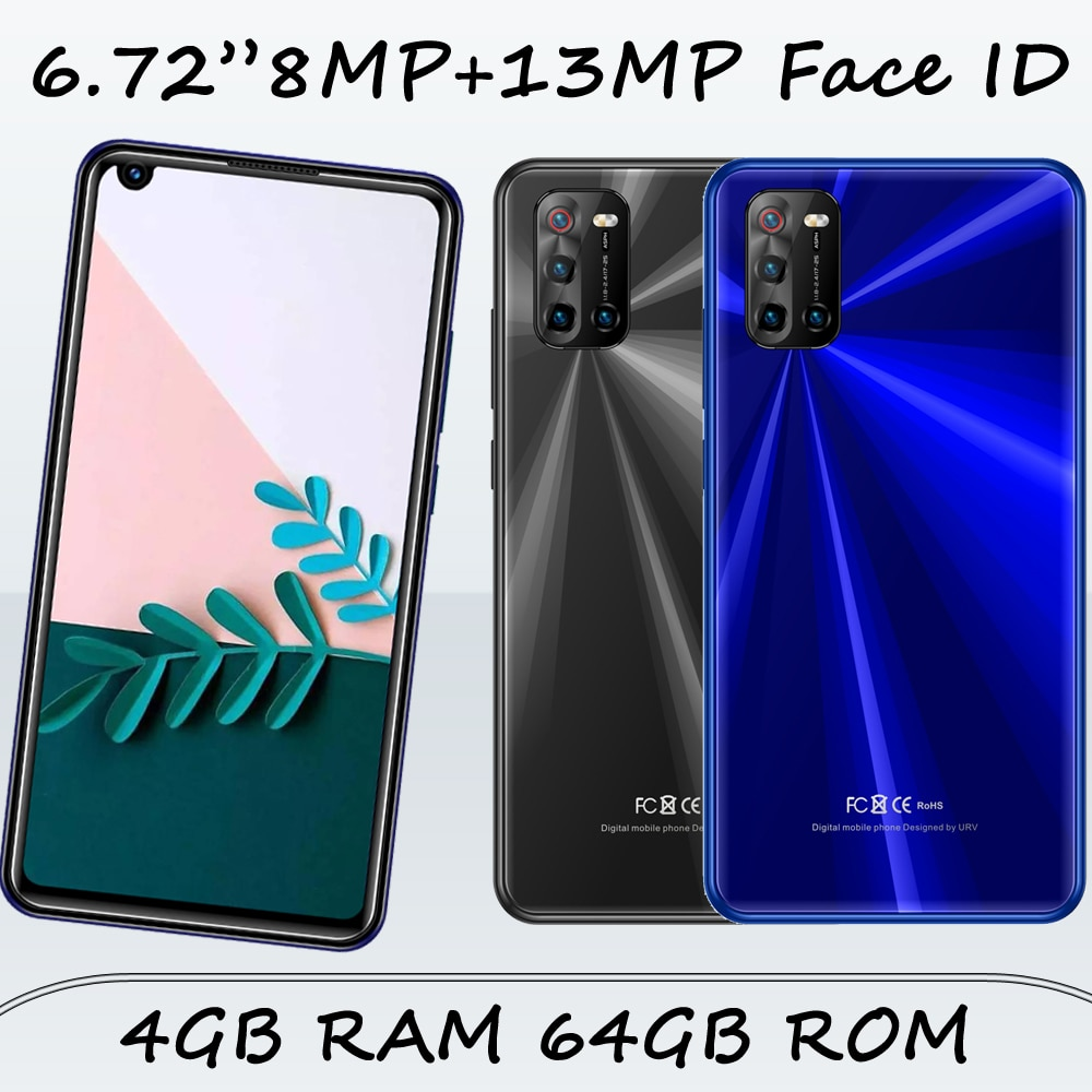 """Get 6.72"""" Screen 9X Pro Front/Back Camera Face ID Global Smartphones Unlocked Android 4G RAM+64G ROM 8MP+13MP Celulares Mobile Phone"""