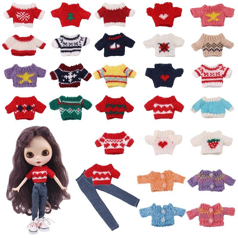 Комплект одежды для куклы Blyth = свитер + джинсы для Blyth Azone OB23 OB24 1/6, аксессуары для куклы, аксессуары для одежды для девочек нашего поколения, и...