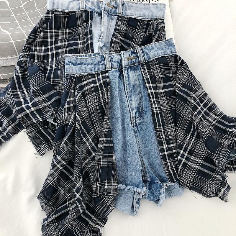 Фото - S-5XL Korean Fashion Design Denim Shorts Two Piece Korean Fashion Design Matching Lattice Stitching High Waist Wide Leg fashion source technical design