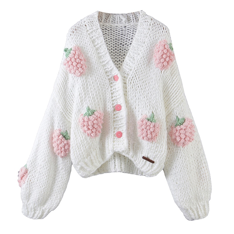 Autumn Winter Women's Sweater Korean Fashion Strawberry Cardigan For Women 2021 Oversize Cardigan Knitted Coat Long Sleeve Tops enlarge