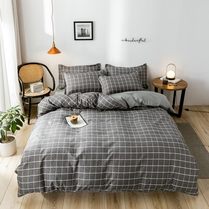 4pcs Bedding set Plaid Grid Soft Home duvet cover set  Twin Full Queen King single duvet Size Quilt cover Bed Sheet Pillowcases