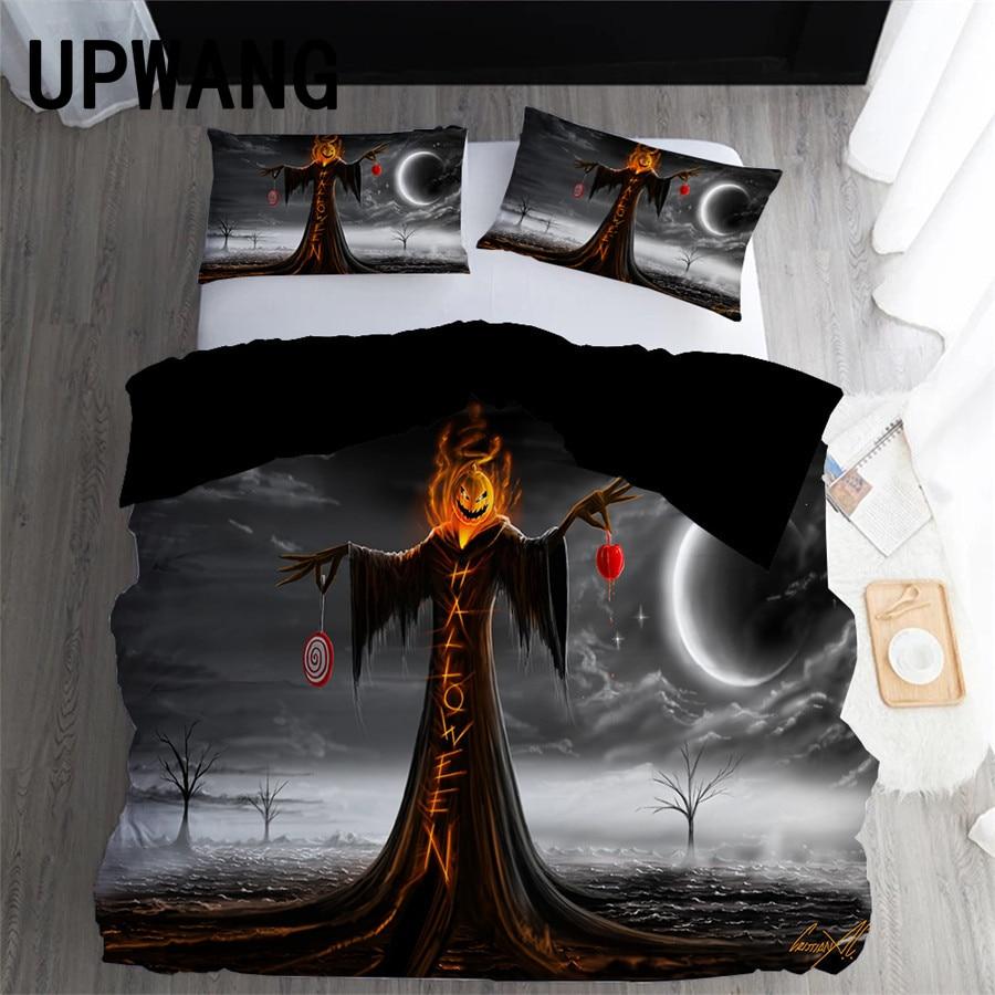 UPWANG 3D Bedding Set Horror Halloween Printed Duvet/Quilt Cover Set Bedcloth with Pillowcase Bed Set Home Textiles #WSJ14