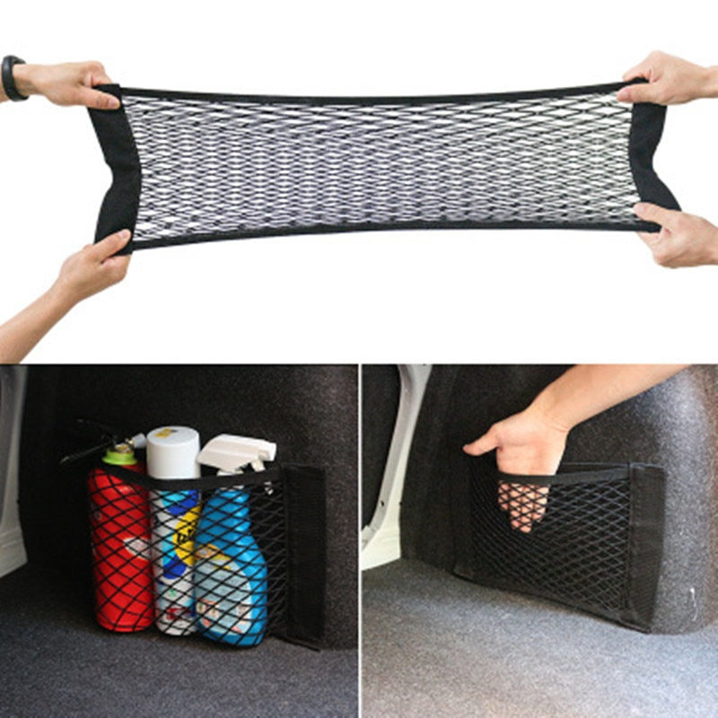 Auto neto red portatarjetas de bolsillo, bolsa de almacenamiento de maletero de coche de red de malla Auto SUV pegatina para maleta organizador Interior cosas de malla de Nylon