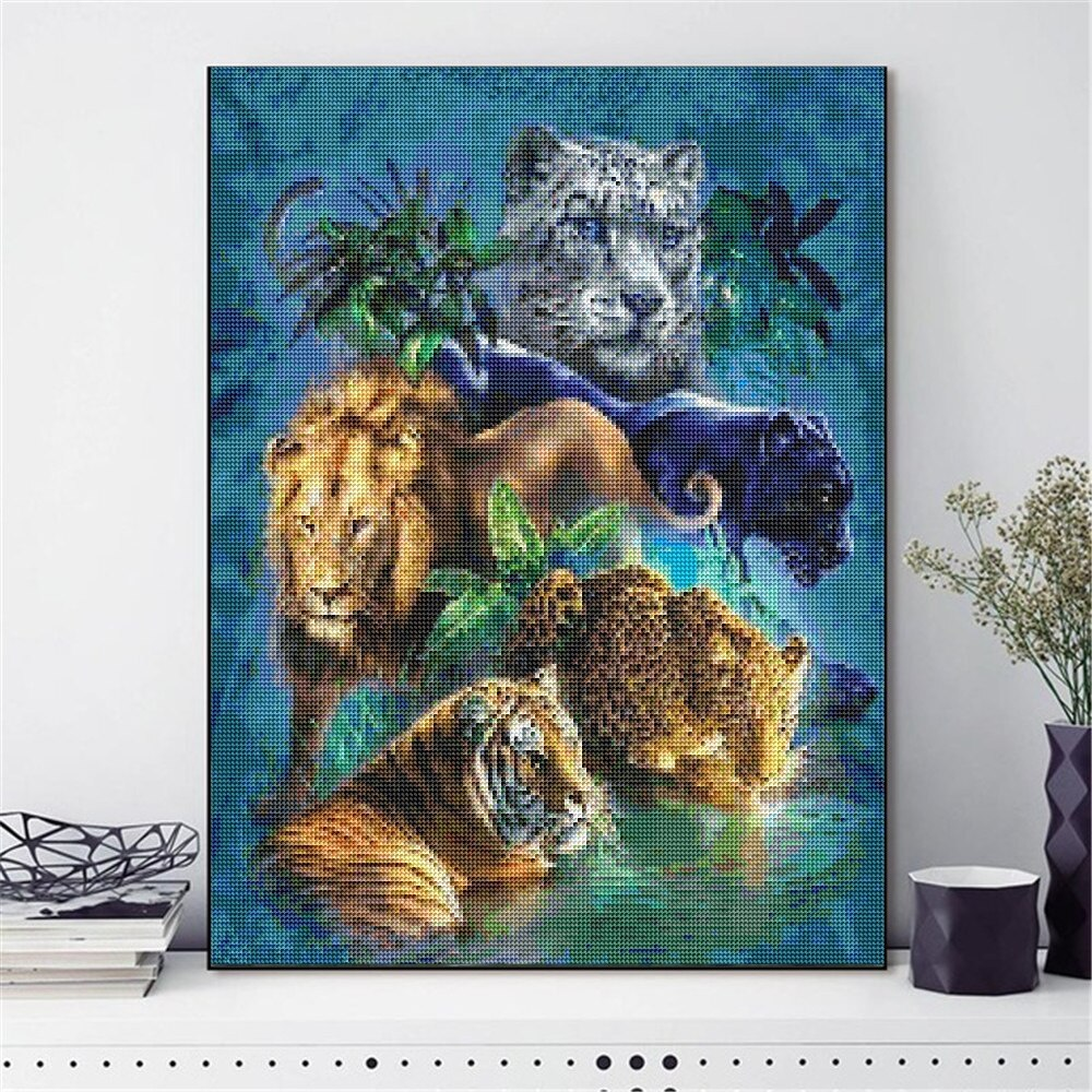 Tigre moda 5d diy pintura diamante desenhos animados personagens pintura bordado imagem mosaico de diamante parede pendurado pintura