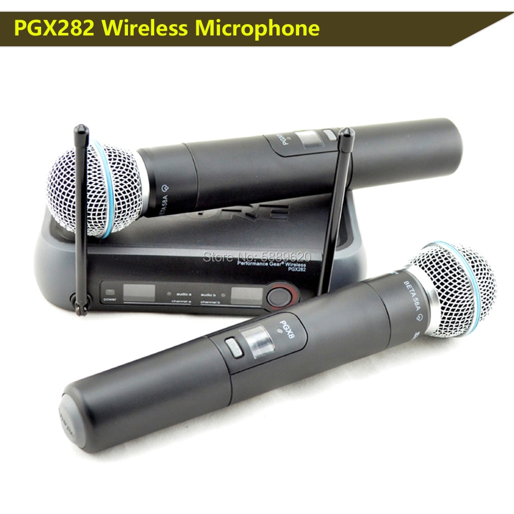 free shipping professional wireless microphone handheld lavalier headset dual channel true uhf adjustable frequency home karaoke Free shipping , HOT SALES PGX282,PGX8 UHF DUAL MICROPHONE,PGX DUAL UHF PROFESSIONAL WIRELESS MICROPHONE SYSTEM