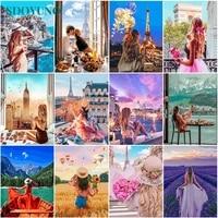 SDOYUNO     peinture a lhuile par numeros  60x75cm  paysage par numeros  toile  Figure numerique  peinture a la main  decor de maison