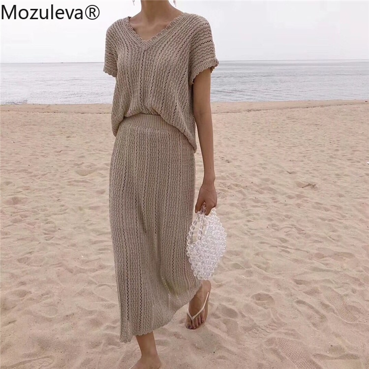 Mozuleva 2020 New Summer Woman 2 Piece Sets Matching Long Skirts High Waist Knitting Casual Fashionable Elegant Sweater Suits