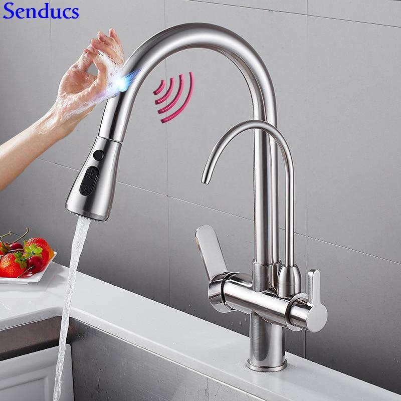 Touch Wasser Filter Wasserhahn Senducs Ziehen Touch Sensing Küche Wasserhahn Qualität Messing Automatische Gebürstet Sensor Küche Mischbatterie