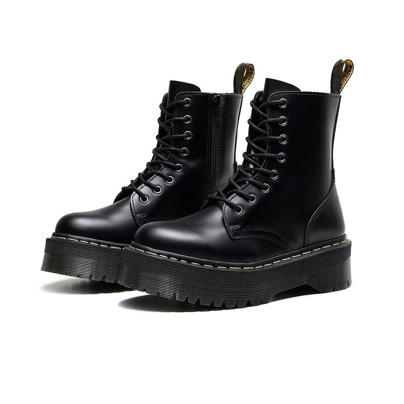النساء مارتنز حجم 34-45 سميكة دراجة نارية الأحذية النسائية 2021 جديد الخريف الشتاء موضة جولة تو الدانتيل أحذية قتالية أحذية نسائية